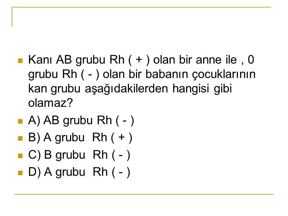 Kanı AB grubu Rh ( + ) olan bir anne ile , 0 grubu Rh ( - ) olan bir babanın çocuklarının kan grubu aşağıdakilerden hangisi gibi olamaz