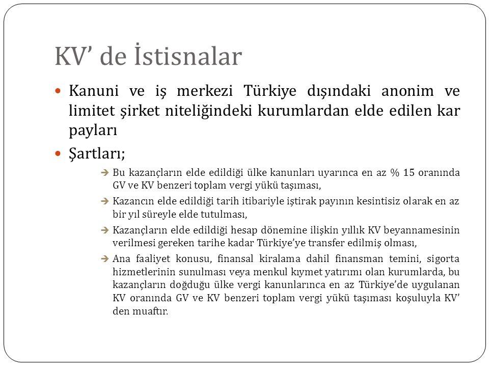 KV' de İstisnalar Kanuni ve iş merkezi Türkiye dışındaki anonim ve limitet şirket niteliğindeki kurumlardan elde edilen kar payları.