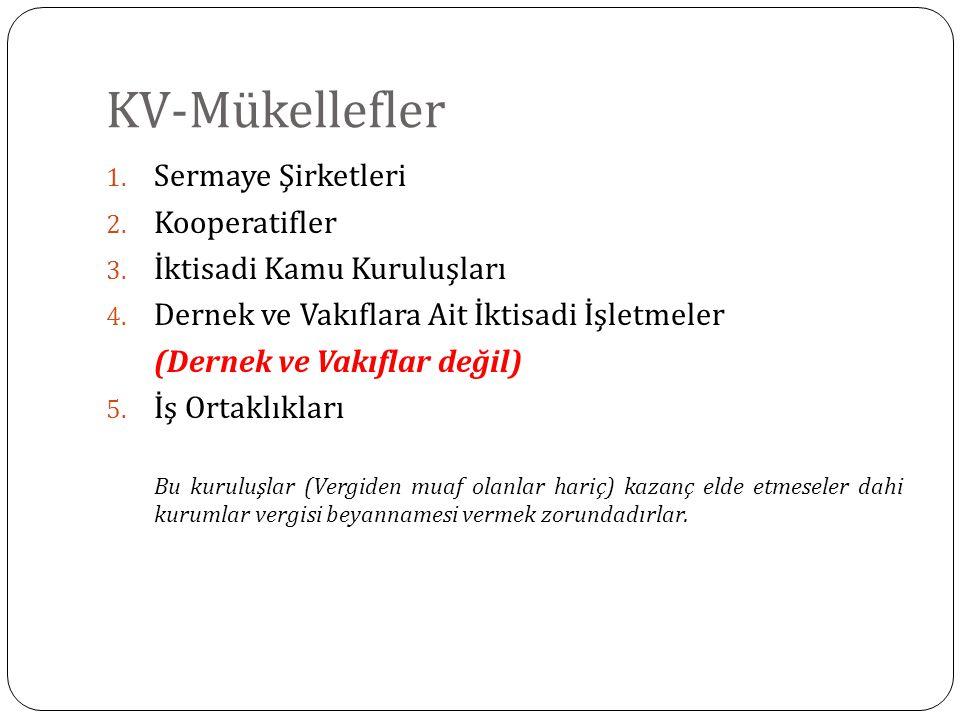 KV-Mükellefler Sermaye Şirketleri Kooperatifler