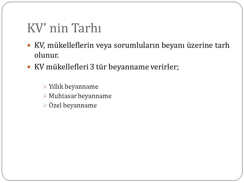 KV' nin Tarhı KV, mükelleflerin veya sorumluların beyanı üzerine tarh olunur. KV mükellefleri 3 tür beyanname verirler;