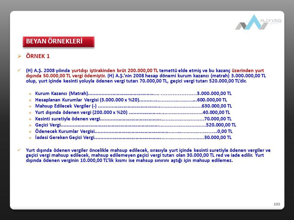 BEYAN ÖRNEKLERİ ÖRNEK 1.