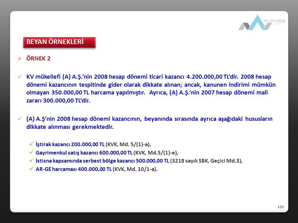 BEYAN ÖRNEKLERİ ÖRNEK 2.