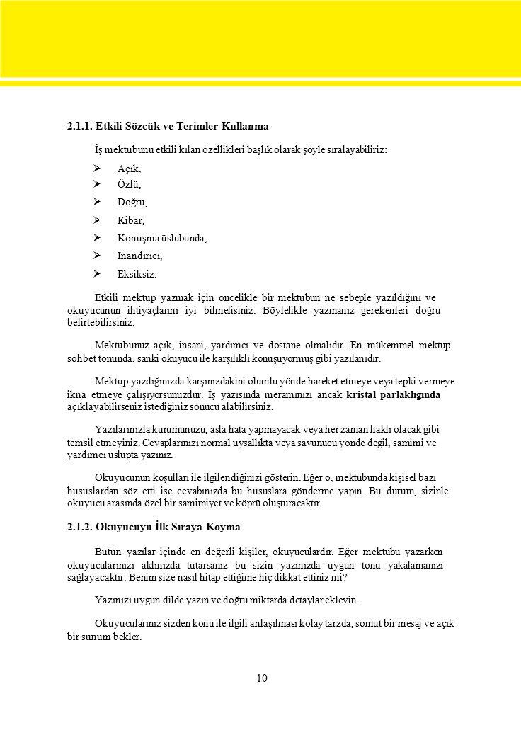 2.1.1. Etkili Sözcük ve Terimler Kullanma