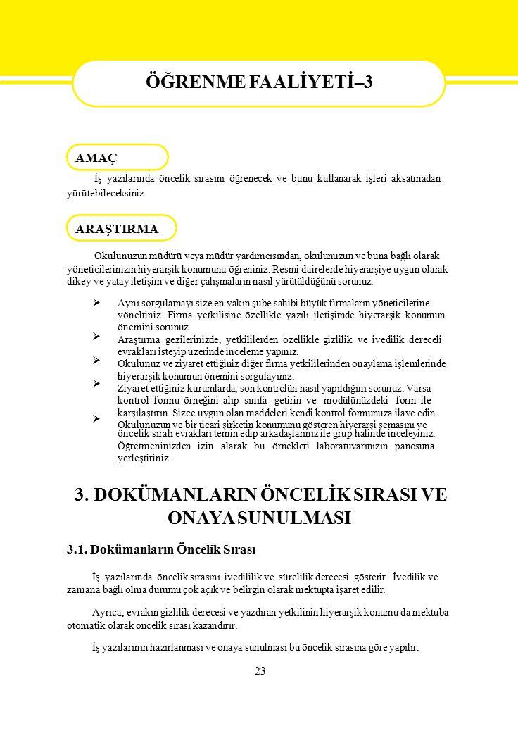 ÖĞRENME FAALİYETİ - 3 AMAÇ ONAYA SUNULMASI ÖĞRENME FAALİYETİ–3