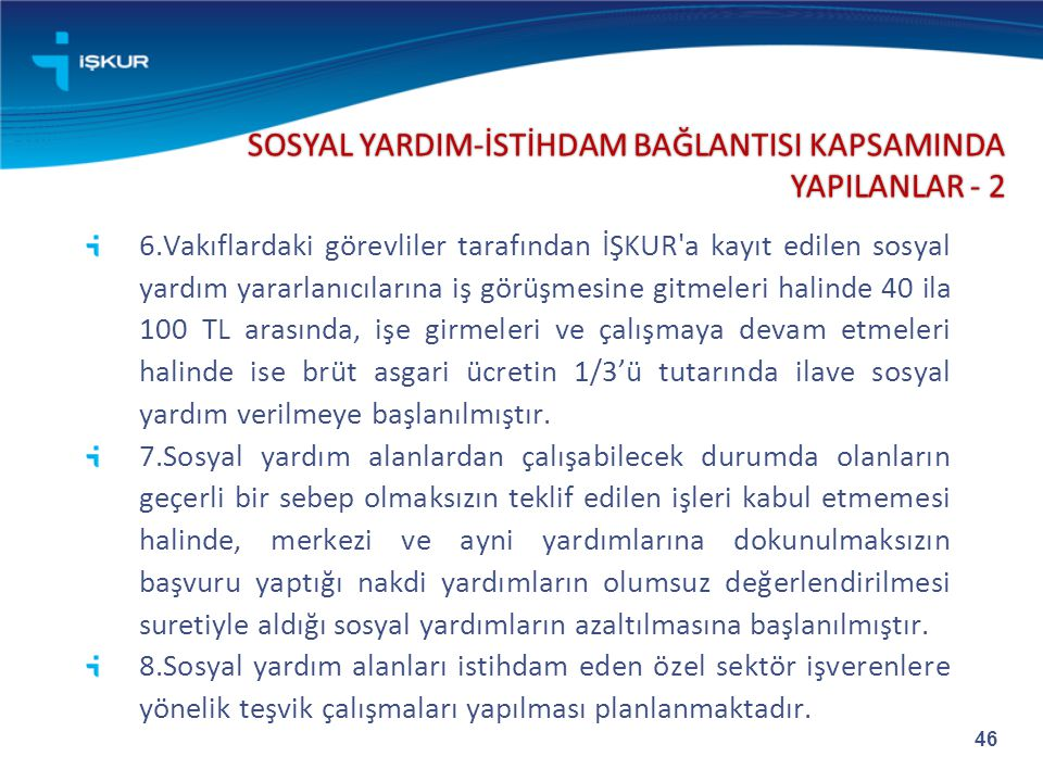 SOSYAL YARDIM-İSTİHDAM BAĞLANTISI KAPSAMINDA YAPILANLAR - 2