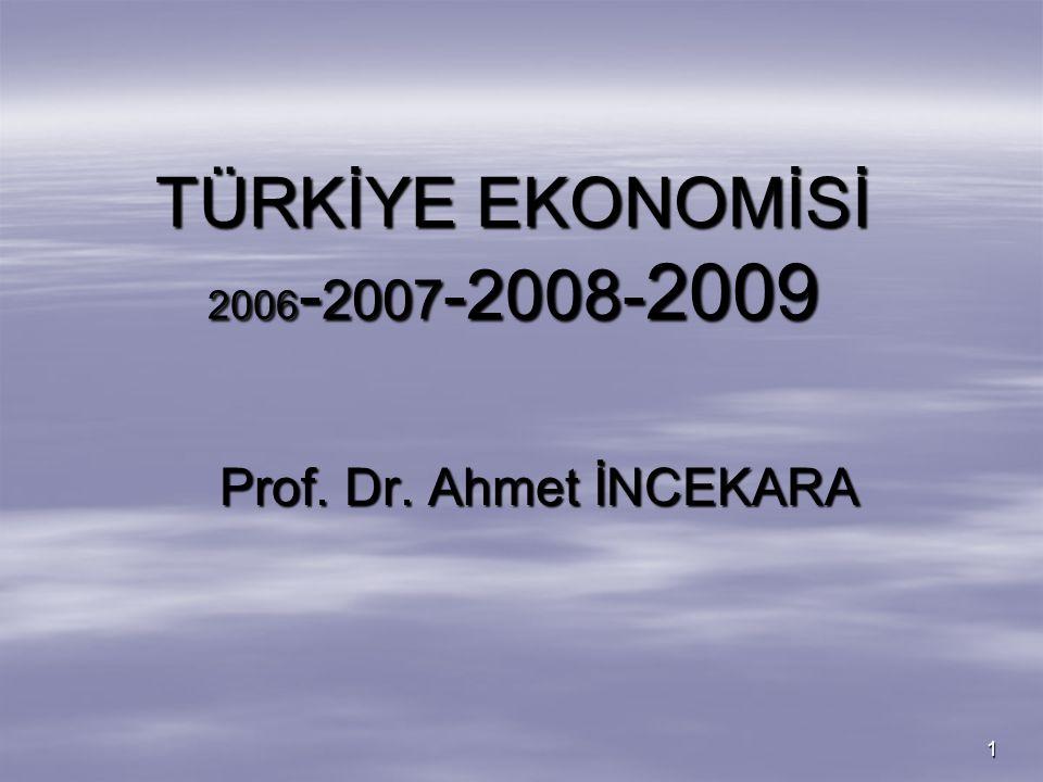 TÜRKİYE EKONOMİSİ 2006-2007-2008-2009 Prof. Dr. Ahmet İNCEKARA