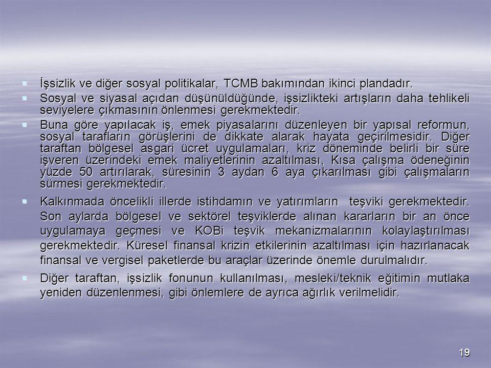 İşsizlik ve diğer sosyal politikalar, TCMB bakımından ikinci plandadır.