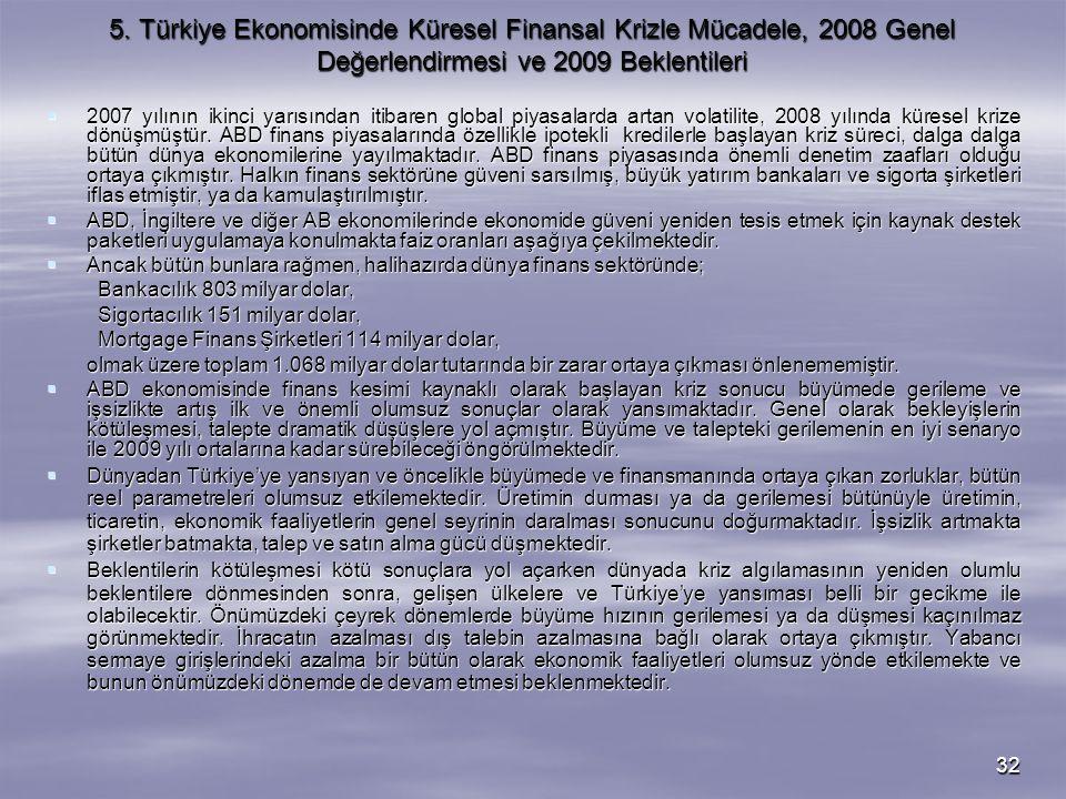5. Türkiye Ekonomisinde Küresel Finansal Krizle Mücadele, 2008 Genel Değerlendirmesi ve 2009 Beklentileri