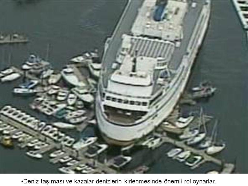 Deniz taşıması ve kazalar denizlerin kirlenmesinde önemli rol oynarlar.