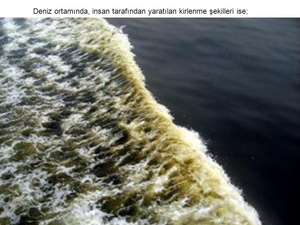 Deniz ortamında, insan tarafından yaratılan kirlenme şekilleri ise;