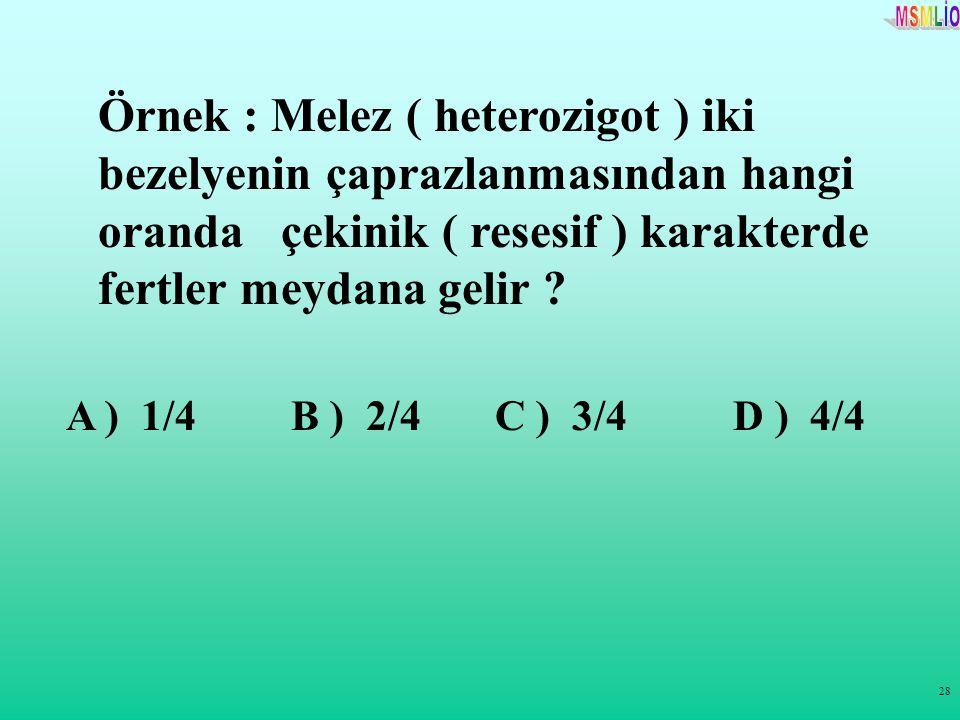 Örnek : Melez ( heterozigot ) iki bezelyenin çaprazlanmasından hangi oranda çekinik ( resesif ) karakterde fertler meydana gelir