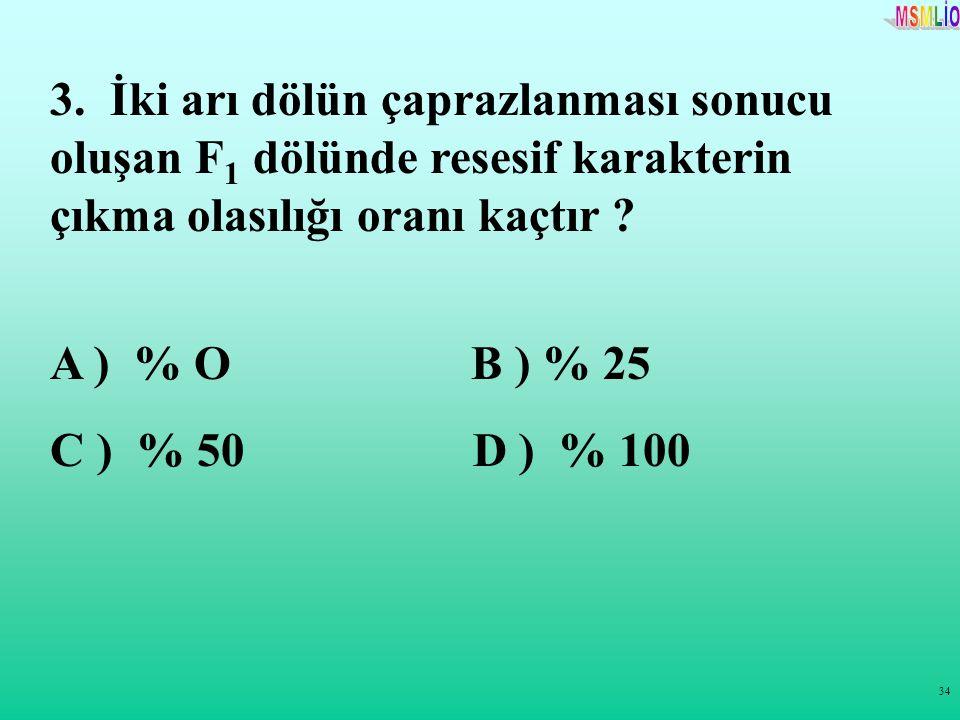 3. İki arı dölün çaprazlanması sonucu oluşan F1 dölünde resesif karakterin çıkma olasılığı oranı kaçtır