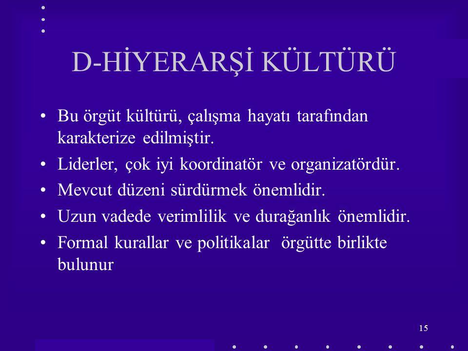 D-HİYERARŞİ KÜLTÜRÜ Bu örgüt kültürü, çalışma hayatı tarafından karakterize edilmiştir. Liderler, çok iyi koordinatör ve organizatördür.