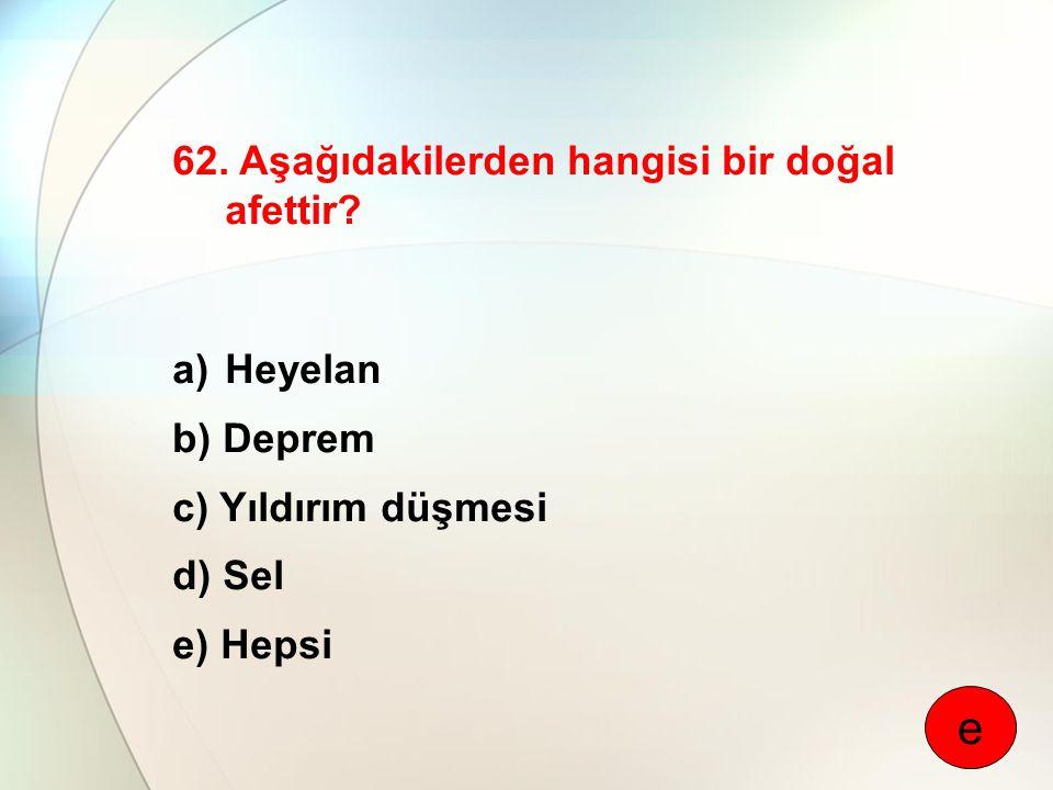 e 62. Aşağıdakilerden hangisi bir doğal afettir Heyelan b) Deprem