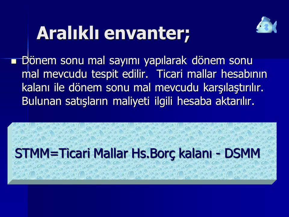 Aralıklı envanter; STMM=Ticari Mallar Hs.Borç kalanı - DSMM