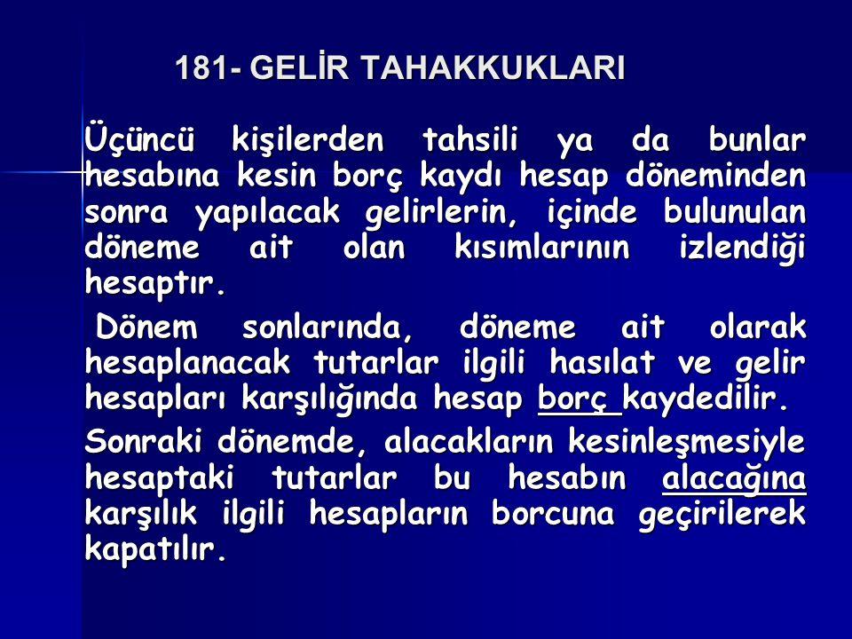 181- GELİR TAHAKKUKLARI
