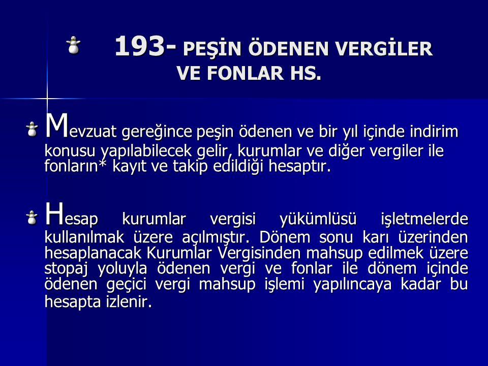 193- PEŞİN ÖDENEN VERGİLER VE FONLAR HS.