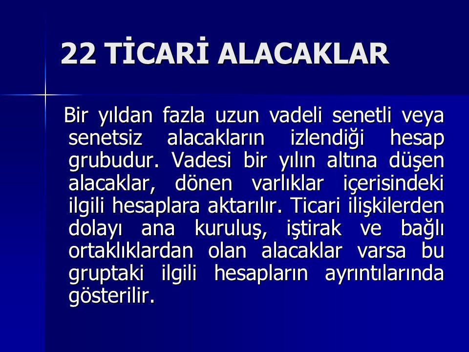 22 TİCARİ ALACAKLAR