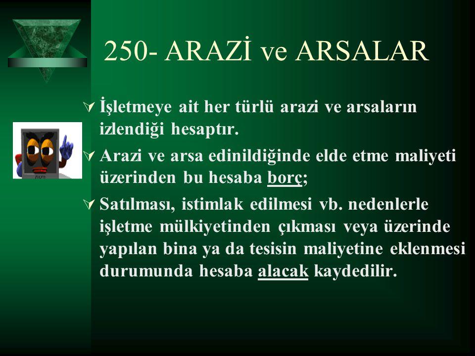 250- ARAZİ ve ARSALAR İşletmeye ait her türlü arazi ve arsaların izlendiği hesaptır.