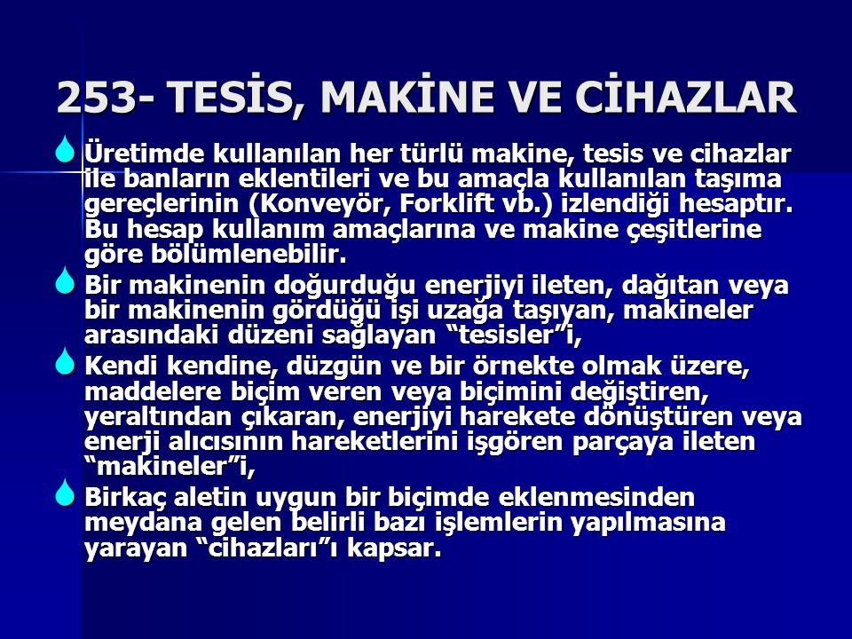 253- TESİS, MAKİNE VE CİHAZLAR