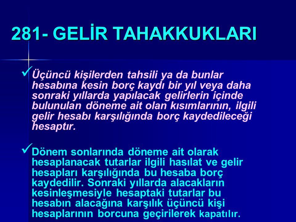 281- GELİR TAHAKKUKLARI