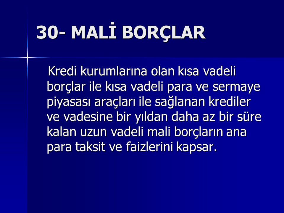 30- MALİ BORÇLAR