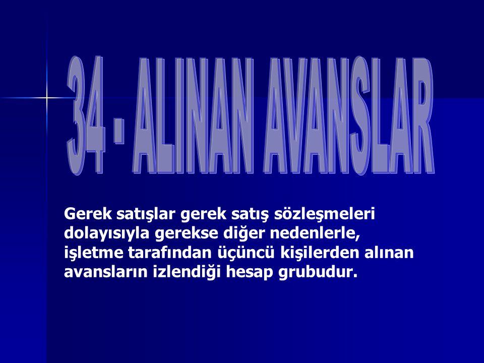 34 - ALINAN AVANSLAR
