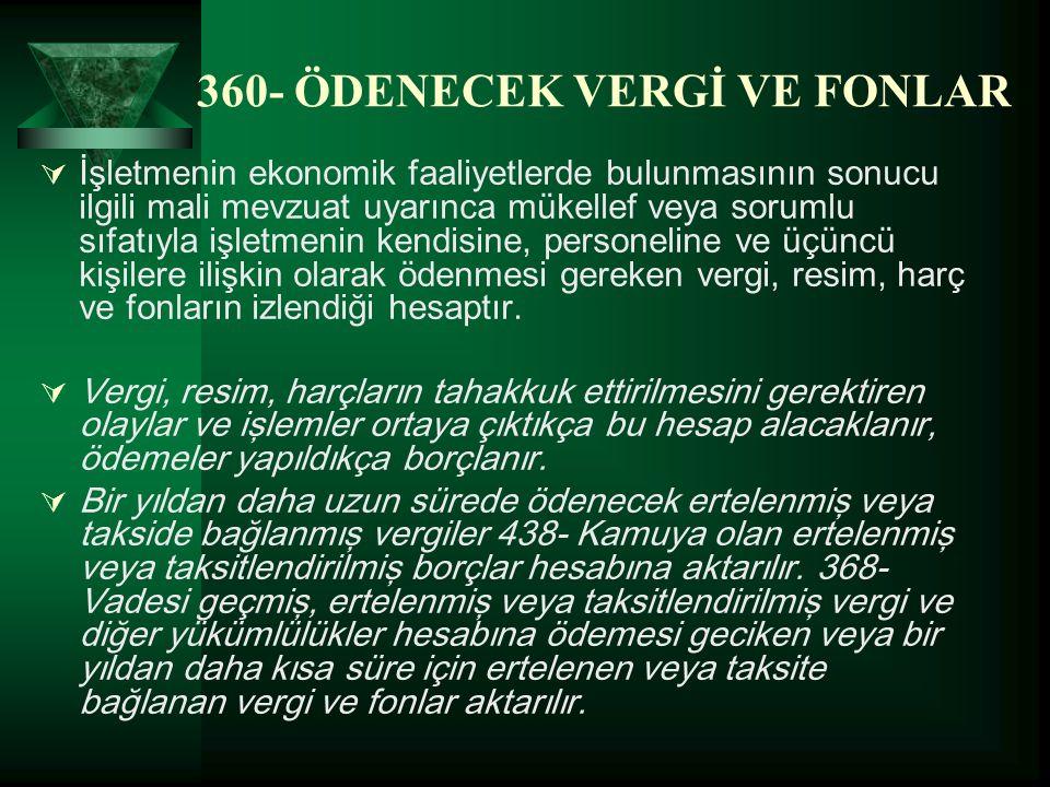 360- ÖDENECEK VERGİ VE FONLAR