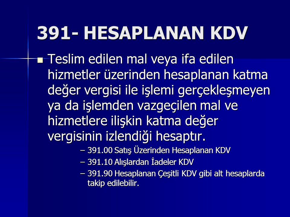 391- HESAPLANAN KDV
