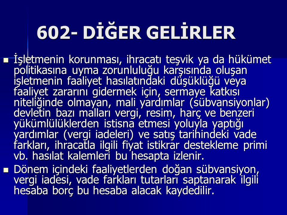 602- DİĞER GELİRLER