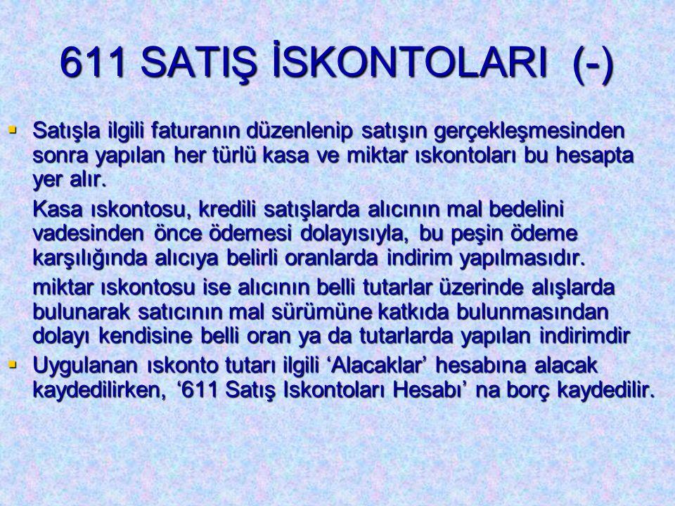 611 SATIŞ İSKONTOLARI (-)