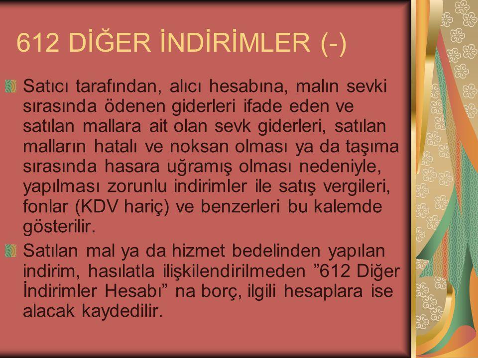 612 DİĞER İNDİRİMLER (-)