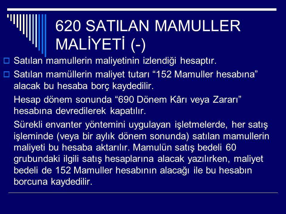 620 SATILAN MAMULLER MALİYETİ (-)