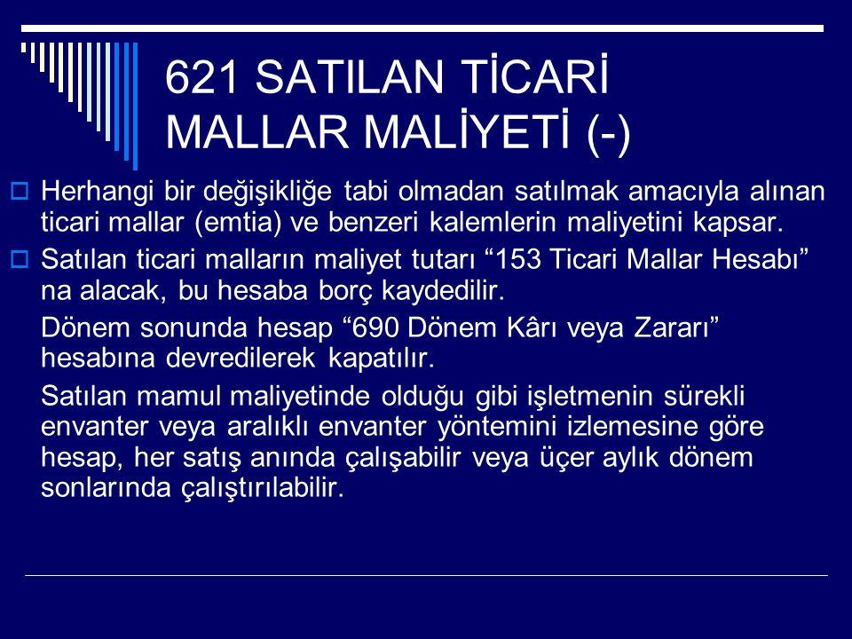 621 SATILAN TİCARİ MALLAR MALİYETİ (-)
