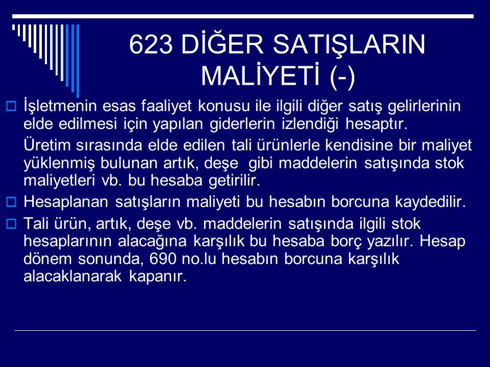 623 DİĞER SATIŞLARIN MALİYETİ (-)