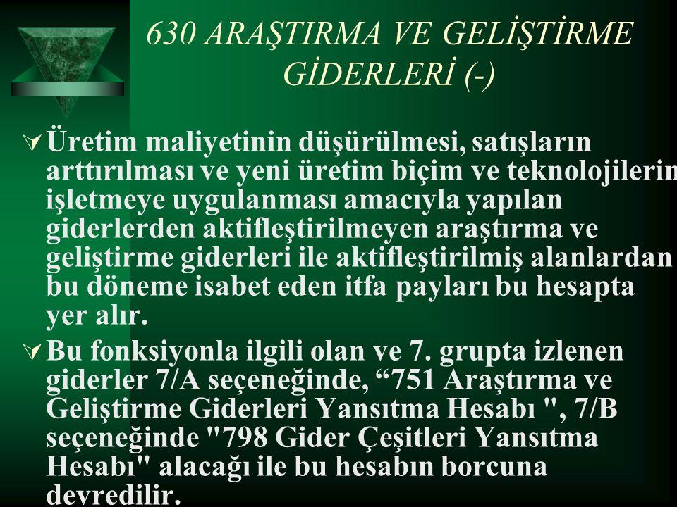 630 ARAŞTIRMA VE GELİŞTİRME GİDERLERİ (-)