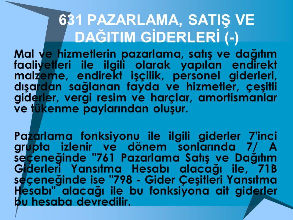 631 PAZARLAMA, SATIŞ VE DAĞITIM GİDERLERİ (-)