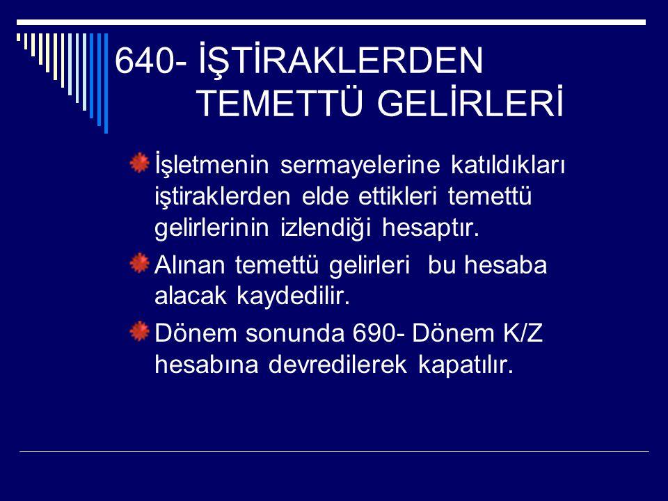 640- İŞTİRAKLERDEN TEMETTÜ GELİRLERİ