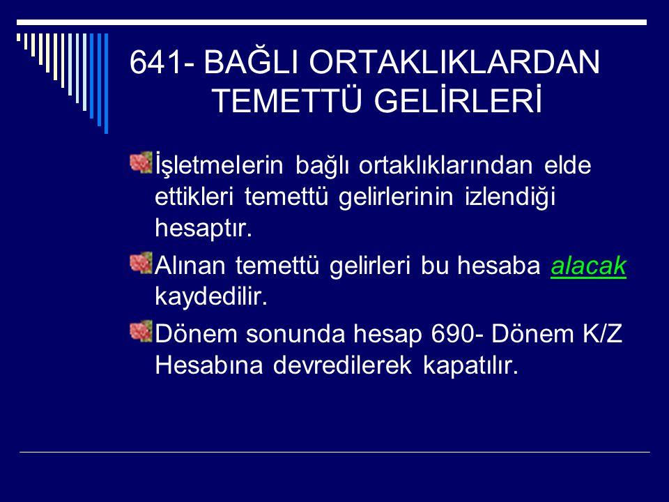 641- BAĞLI ORTAKLIKLARDAN TEMETTÜ GELİRLERİ