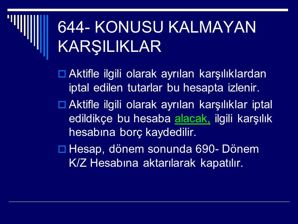 644- KONUSU KALMAYAN KARŞILIKLAR