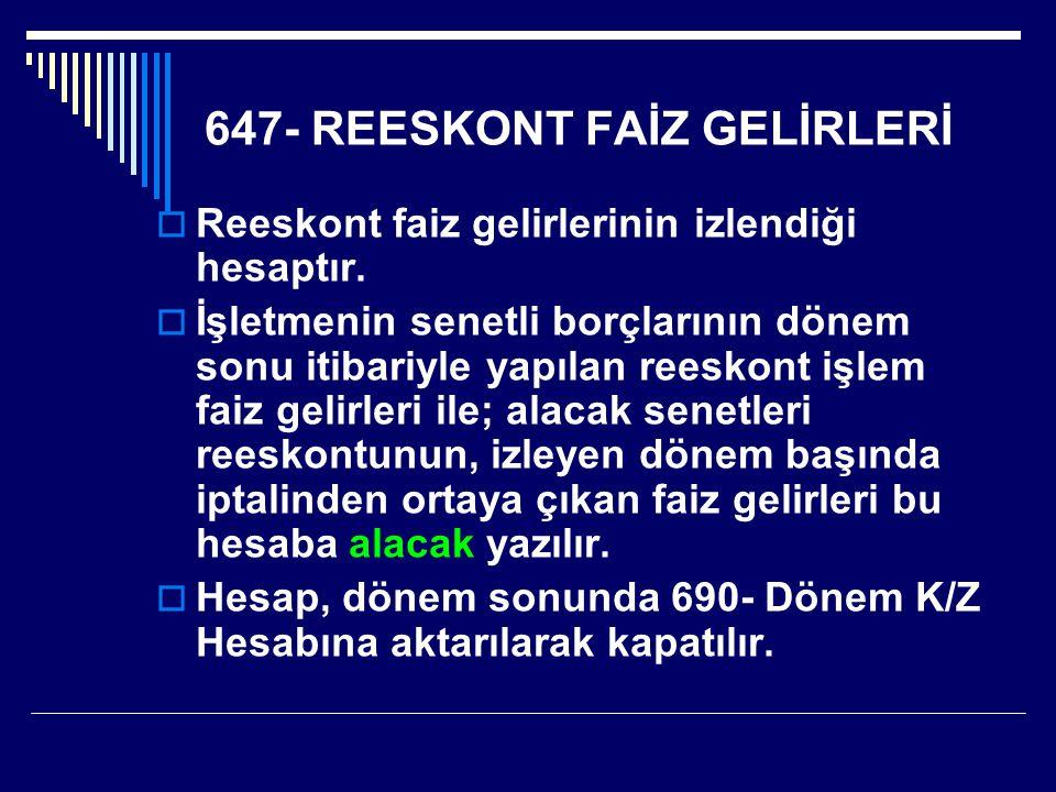 647- REESKONT FAİZ GELİRLERİ