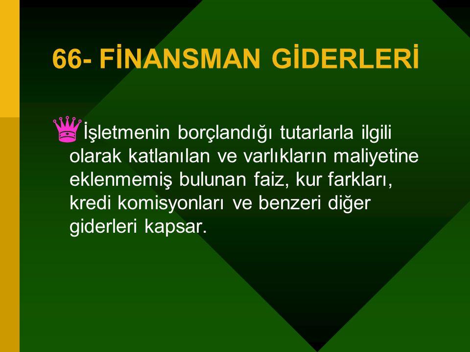 66- FİNANSMAN GİDERLERİ