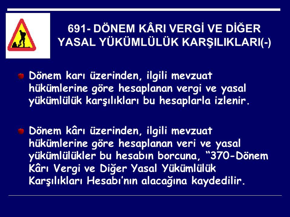 691- DÖNEM KÂRI VERGİ VE DİĞER YASAL YÜKÜMLÜLÜK KARŞILIKLARI(-)