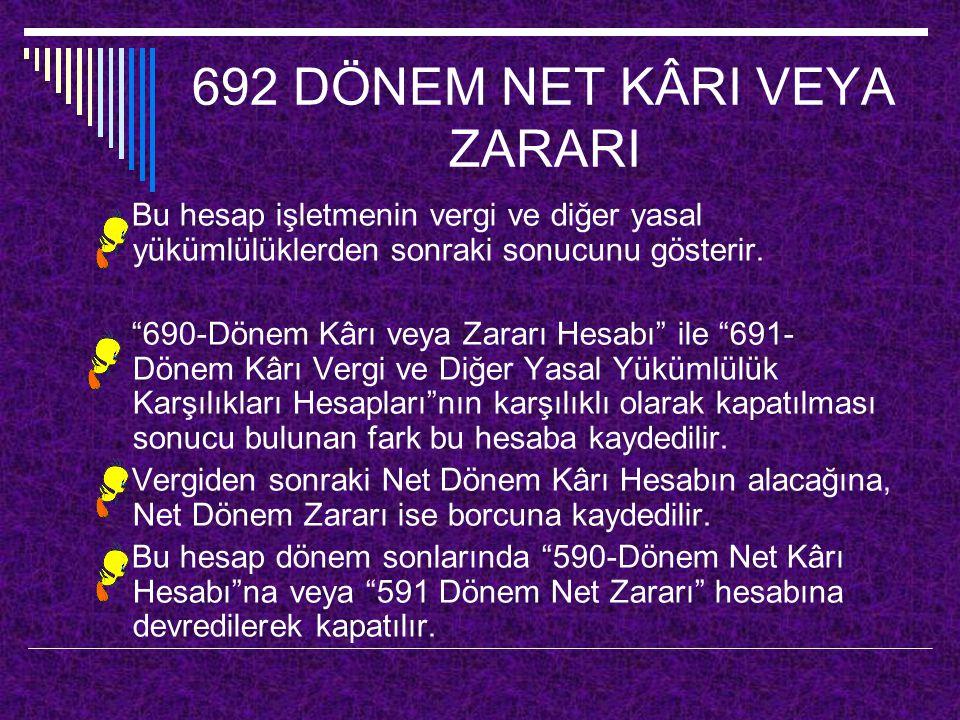 692 DÖNEM NET KÂRI VEYA ZARARI