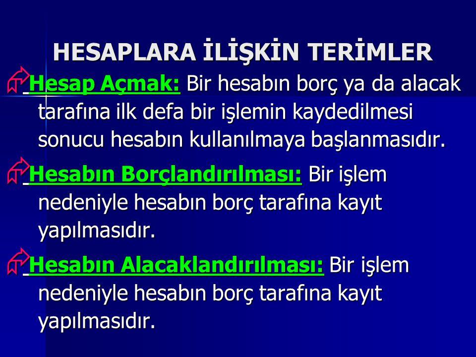HESAPLARA İLİŞKİN TERİMLER