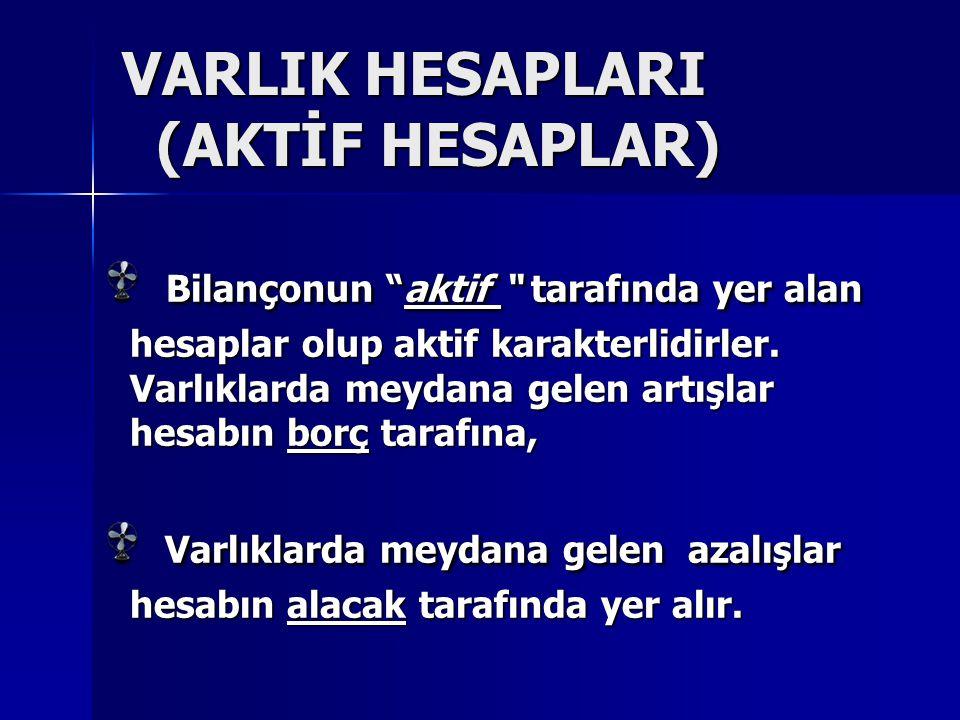 VARLIK HESAPLARI (AKTİF HESAPLAR)