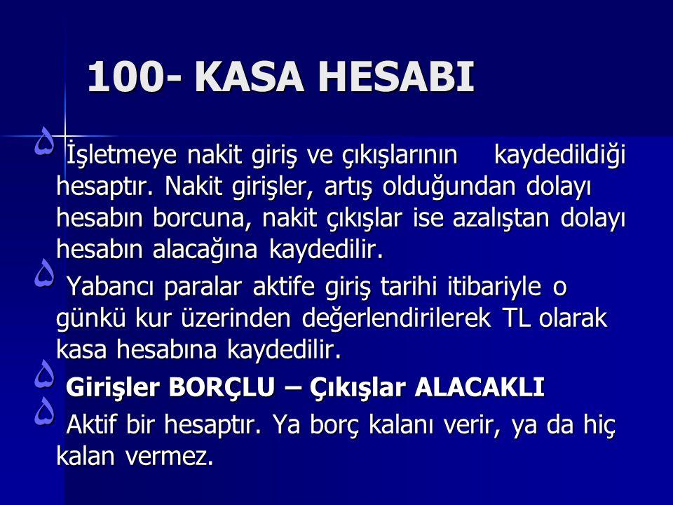 100- KASA HESABI