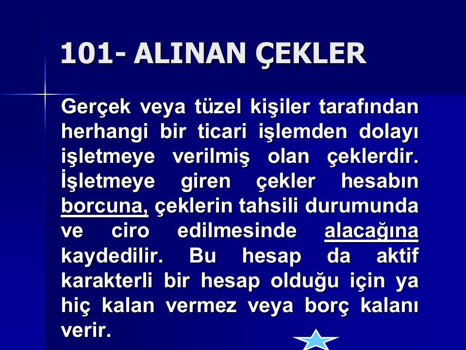 101- ALINAN ÇEKLER