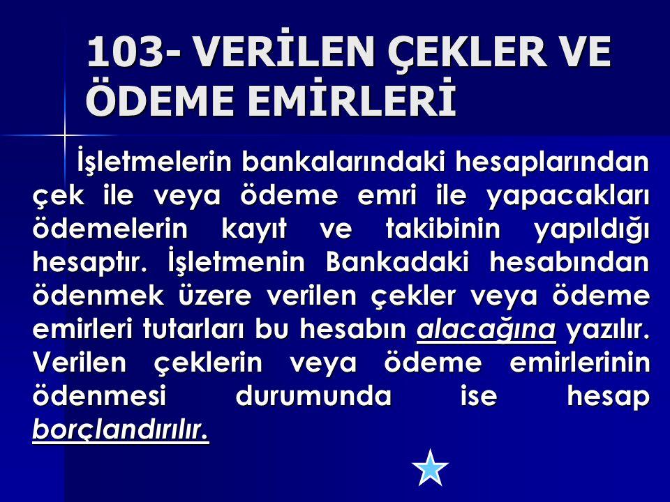 103- VERİLEN ÇEKLER VE ÖDEME EMİRLERİ