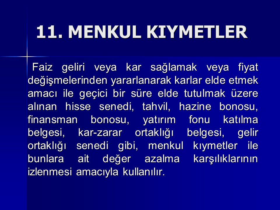 11. MENKUL KIYMETLER